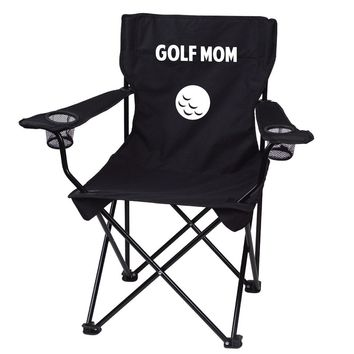 Golf Mom Black Folding Camping Chair with Carry Bag