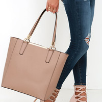 Just Touched Down Beige Tote