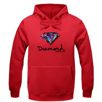 Men's Diamond Supply Co. Hip Hop Fleece Hooded Pullover Sweater