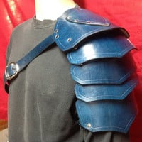 Blue Single Leather Shoulder Armor Spaulder Pauldron Cosplay LARP Steampunk Ren Faire