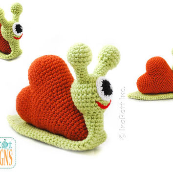PATTERN Cupid The Love Snail Stuffed Alien Monster Animal Toy Crochet PDF Pattern