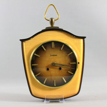 Vintage Art Deco JUNGHANS Wall Clock Wood West Germany 1940s 1930s