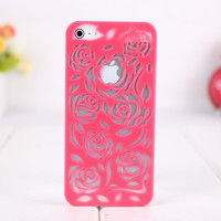 Rose Hollow out Relief Hard Cover Case FOR Iphone 4/4s