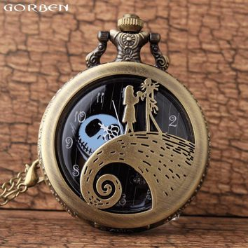 Tim Burtons Nightmare Before Christmas Quartz Pocket Watch For Children Jack Skellington And Sally Necklace Watch With Chain