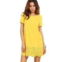 Women Mini Dresses Fall Fashion Shift Dress Yellow Short Sleeve Hollow Hem Shift Dress