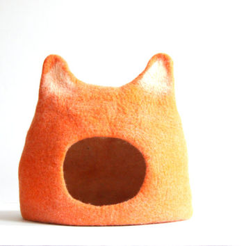 Cat bed - cat cave - cat house - eco-friendly handmade felted wool cat bed - orange with natural white - made to order