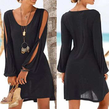 Hollow Out Sleeve Straight Dress Solid Beach Style Mini dress