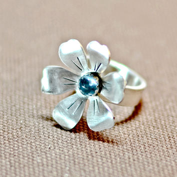 Sterling silver handmade flower ring with blue topaz