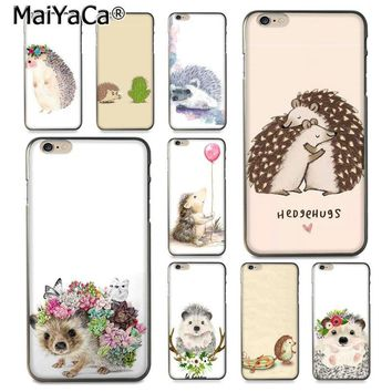 MaiYaCa Animal cute cartoon hedgehog painting  Luxury Hybrid phone case for iPhone 8 7 6 6S Plus X 10 5 5S SE 5C Coque Shell
