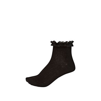 River Island Womens Black cable knit frilly ankle socks