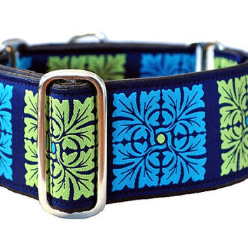 Martingale Collar: Turquoise and Lime Squares - 2 Inch, Greyhound Collar, Martingale Dog Collar, Custom Dog Collar, Whippet Collarlim