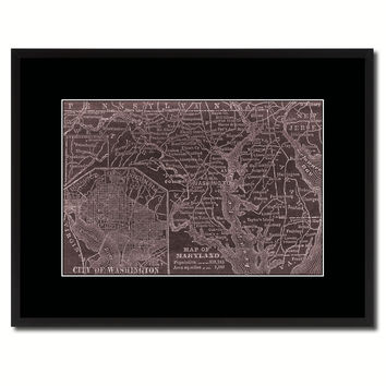 Maryland Vintage Vivid Sepia Map Canvas Print, Picture Frames Home Decor Wall Art Decoration Gifts
