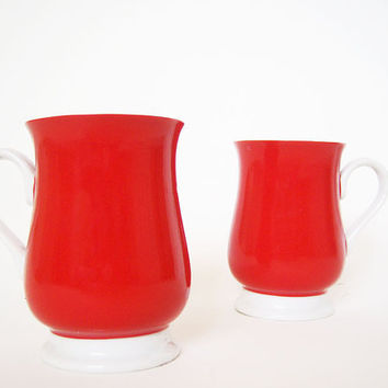 Vintage Fitz and Floyd Red Mugs