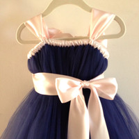 Navy tutu flower girl dress with pale pink accents NB-12 girls