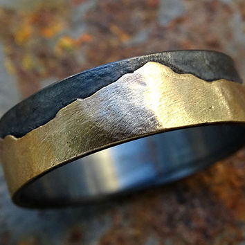 gold mountain range ring, outdoor wedding ring nature, promise ring black silver gold wedding band personalized, custom mountain ring men