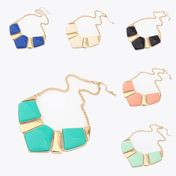 Women Retro Statement Fashion Rhombus Gems Necklace Vintage Bib Necklace & Pendants Chain Collar Party Necklace #N233