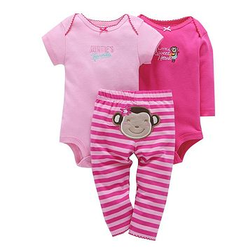 Spring baby girl clothes cotton romper+pant clothing set cute monkey print o-neck 3 piece set newborn baby girl outfit
