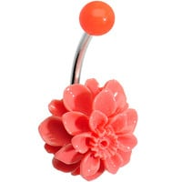 Orange Beautiful Blooming Stone Carnation J-Bar Belly Ring | Body Candy Body Jewelry