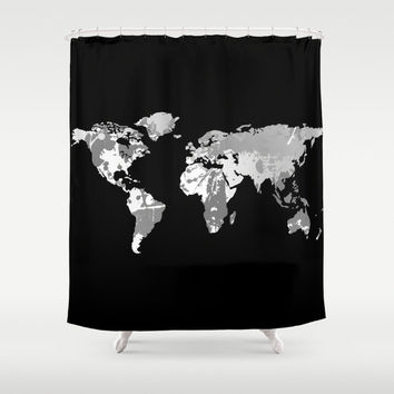 World Map Shower Curtain Teens, Men, Black + White Decor, Black + White Fabric Shower Curtain, Dark Bathroom Decor, Custom Shower Curtain