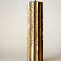 Rustic Candle Cylinder Antique Gold Candle Cylinder With Twelve Edge Rustic Wedding Decor