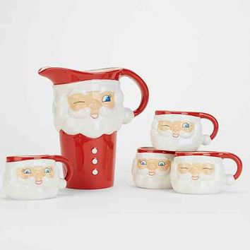 Vintage-Inspired Santa Pitcher + Mug Set - Red One