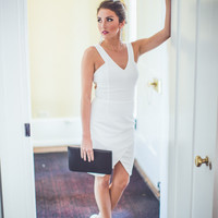 Tulip Hem Bridesmaid Dress in White