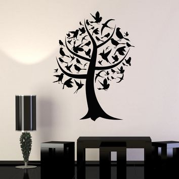 Wall Decal Tree House Decoration Birds Forest Art Room Vinyl Stickers Unique Gift (ig2992)