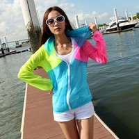 Sun Protection Transparent Hoodie Women Jacket