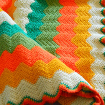 Mid Century Modern Afghan. Knitted Avocado, Gold, Orange and Green Handmade Throw.