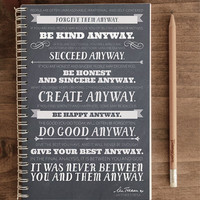 2014 12-Month Weekly Planner with Back Pocket – Anyway Quote by Mother Teresa (chalk)