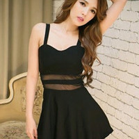 2014 Night Club Sexy Ladies Straps Dress Pure Color Hollow Out Gauze Splicing Pullover Short Black Dress