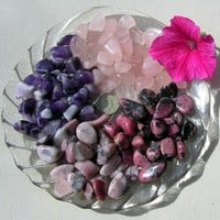 Amethyst, Quartz & Rhodonite - 12 Crystal Tumblestones - In the Pink