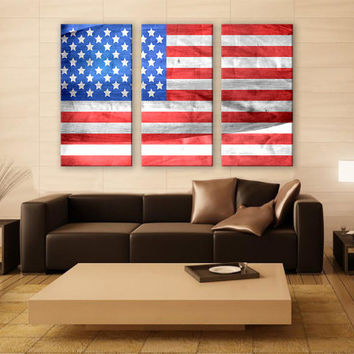 National American Flag Canvas Print 3 Panels Print Art Wall Deco Fine Art Photography Repro Print for Home and Office Wall Decoration