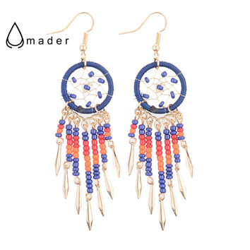 Red/Blue Seed Beads Tassels Dreamcatcher Golden Dangle Earrings American Native Brand Dangle Earrings HQE286