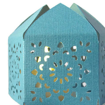 Blue Moroccan Middle Eastern Paper Wedding Lantern with LED Battery Tea Light Candle  Event Decor - Party Favor - Lighting