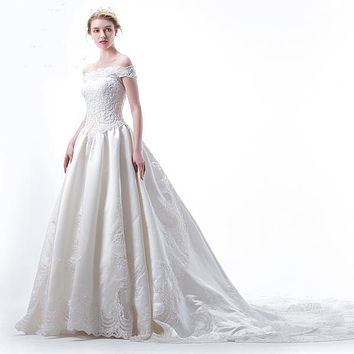 Off Shoulder Pleat A line Skirt Lace Monarch/Cathedral Train Satin Queen Style Beaded Wedding Dress 2018
