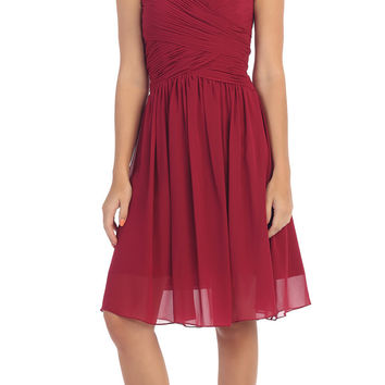 Starbox USA S6127 Sweetheart Neck Ruched Bodice Chiffon Burgundy Knee Length Bridesmaids Dress