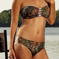 Wilderness Dreams Women's Camo Hipster Swim Bottom - Pink Strap - 607931