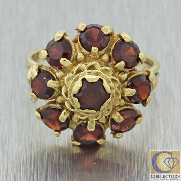 Vintage Estate Victorian Style 14k Solid Yellow Gold 2.25ctw Garnet Cluster Ring