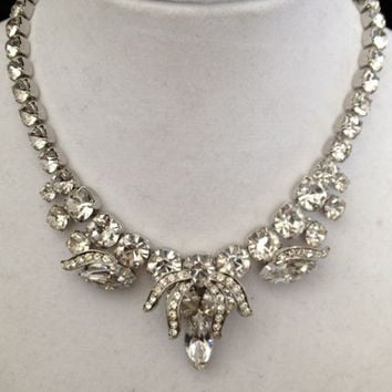 Vintage Weiss Clear Rhinestone Necklace - Spectacular Bridal Prom Special Occassion