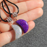 Holographic  Moon Choker Necklace Pendant Locket Cord Collar 90s Leather Harness Dress Trendy Boho String Tattoo Bdsm Grunge