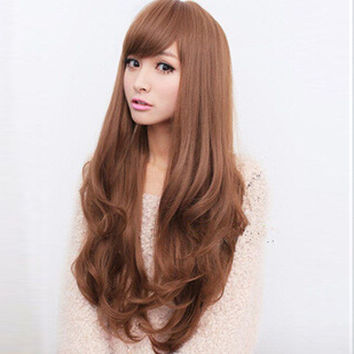 Sexy Women Fashion Long Wavy Curly Hair Cosplay Costume Party Full Wig Wigs BO