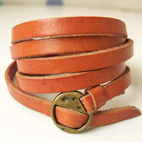 Elegant & Chic Orange Leather Wrap Bracelet With by ACuteCute