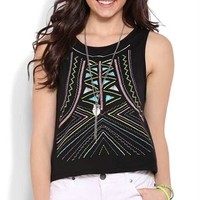 Deep Armhole Tank Top with Neon Paint Embroidery Design