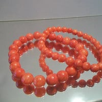 Coral Beaded Stretch Bracelets Bead Jewelry Boho Fashion Accessories Beachy Tropical