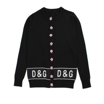 D&G Black ice silk jacket sequined flower button cardigan loose