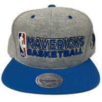 Mitchell & Ness Dallas Mavericks Heather Jersey Snapback In Grey/Black