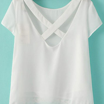 White Criss Cross Back Short Sleeve Chiffon Blouse