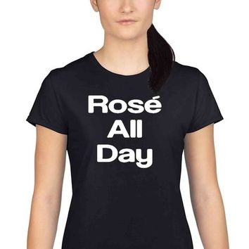 Women's Juniors T Shirt Rose All Day