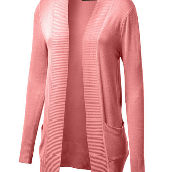 LE3NO Womens Open Knit Sweater Cardigan (CLEARANCE)